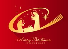 Merry Christmas banner with Gold Nightly christmas scenery mary and joseph in a manger with baby Jesus on red background vector illustration