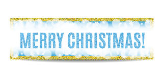 Merry Christmas banner golden frame and snowflakes Royalty Free Stock Photo