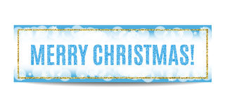 Merry Christmas banner golden frame and snowflakes. Merry Christmas banner. Blue background with bokeh, snow, fog and snowflakes. Golden frame. Glitter sequins Stock Images