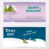 Merry Christmas banner gorizontal background, vector illustration. Royalty Free Stock Photo