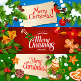 Merry Christmas banner and greeting card set. Holly berry with candy cane and bell, pine tree branches with star, candle and bauble ball, snow, gingerbread man Royalty Free Stock Photography