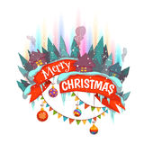 Merry Christmas banner with houses and Northern. Lights. Vector illustration Royalty Free Stock Image