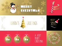 Merry christmas banner label set gold red holiday Royalty Free Stock Image