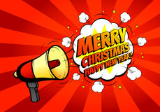 Merry Christmas banner with loudspeaker or megaphone. Happy New Year card. Vector illustration. Icon of loud-hailer in pop art style with bomb explosive Stock Photos