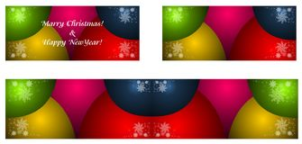 Christmas illustration green & red. Golden christmas balls & snowflakes, ornamental backdrop with snowflakes. stock illustration