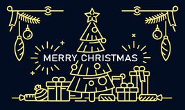 Merry Christmas banner, outline style royalty free illustration