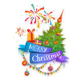 Merry Christmas banner with pine, gifts  Stock Images