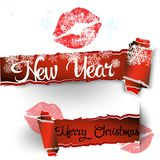 Merry Christmas banner in the realistic torn paper design. Red detailed paper hole. Christmas greeting background with snowflakes. And snow. Vector illustration Royalty Free Stock Images