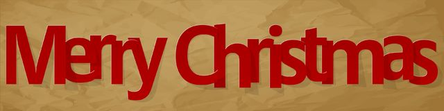 Merry Christmas banner red on a crumpled paper brown background. Merry Christmas banner red on a crumpled paper brown background royalty free illustration