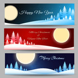 Merry Christmas Banner Set. Set of a Christmas banners or headers. Colorful Illustration Royalty Free Stock Image