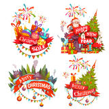 Merry Christmas banner set with Santa Claus, ribbon and pine. Vector illustration.  Royalty Free Stock Images