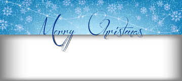 Merry Christmas banner with snow and rectangle for text Stock Photos