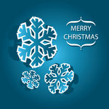 Merry Christmas banner with snowflakes Royalty Free Stock Photo