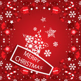 Merry Christmas banner with snowflakes Stock Photos