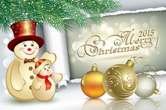Merry Christmas in 2015. Christmas banner with snowman and Christmas balls Royalty Free Stock Photography