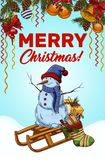 Merry christmas banner with snowman on sledges. Holiday poster with snowman on sledges for christmas celebrating and 2018 new year. Decoration bubbles for new Royalty Free Stock Photo
