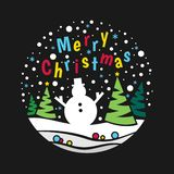 Merry christmas banner with snowman and christmas tree and snow abstract circle style vector design vector illustration