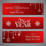 Merry Christmas banners with beads Stock Photo