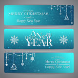 Merry Christmas banners with beads Stock Photos