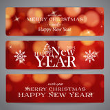 Merry Christmas  banners with bokeh and snowflakes Royalty Free Stock Images