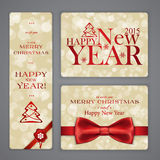 Merry Christmas  banners with bow and snowflakes Stock Photography