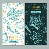 Merry Christmas banners with collection of ice figures . Vector illustration. Isolated objects Royalty Free Stock Images