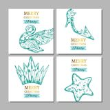 Merry Christmas banners with collection of ice figures . Vector illustration. Isolated objects Royalty Free Stock Photo