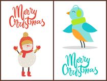 Merry Christmas Snowman, Bird Vector Illustration. Merry Christmas, banners with decorated titles, images of snowman wearing hat and scarf with gloves and happy Stock Photo