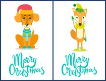 Merry Christmas Dog and Fox Vector Illustration. Merry Christmas, banners with dog wearing red Claus hat and sweater, fox with green headwear and gloves Royalty Free Stock Photography