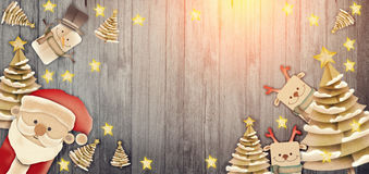 Merry Christmas banners with gift star Santa claus Royalty Free Stock Photography
