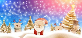 Merry Christmas banners with gift star Santa claus, Royalty Free Stock Photography