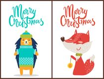 Merry Christmas Hedgehog, Fox Vector Illustration. Merry Christmas, banners with hedgehog wearing green hat and blue knitted sweater and fox with scarf playing Royalty Free Stock Photos