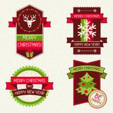Merry Christmas banners, ribbons and badges Stock Image