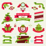 Merry Christmas banners, ribbons and badges Royalty Free Stock Images