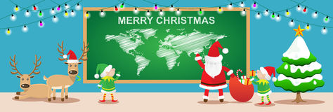Merry Christmas banners.santa claus and elfs work in christmas room Royalty Free Stock Photo