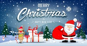 Merry Christmas Banners Santa Claus and reindeer smile on snowflake vector illustration