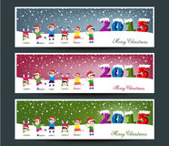 Merry Christmas banners set design with happy kids Royalty Free Stock Images