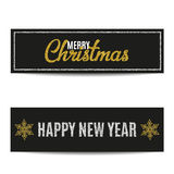 Merry Christmas banners set silver text and golden snowflakes. Merry Christmas banners set. Black background. Golden and silver text. Golden snowflakes and Royalty Free Stock Image
