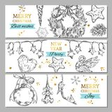 Merry Christmas banners. Vector illustration. Isolated objects. Merry Christmas banners in sketch style. Vector illustration. Isolated objects Stock Photos