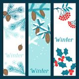 Merry Christmas banners with stylized winter Royalty Free Stock Photos