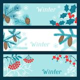 Merry Christmas banners with stylized winter Stock Image
