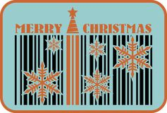 Merry christmas barcode flyer Royalty Free Stock Photo