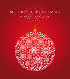 Merry Christmas bauble background EPS10 vector file. Merry Christmas snowflake bauble, season elements over red background. EPS10 vector file organized in Royalty Free Stock Photo