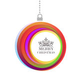 Merry Christmas bauble color text background Stock Photo