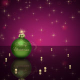 Merry Christmas Bauble. Glamourous Christmas illustration: A green Christmas ball with Merry Christmas lettering and golden pearls Stock Photos