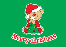 Merry Christmas Bear. Teddy bear holding a Christmas tree Royalty Free Stock Image