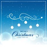 Merry christmas beautiful blue background with light effect Royalty Free Stock Image