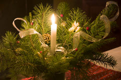 Merry Christmas. Beautiful festive decoration with candle Royalty Free Stock Photography
