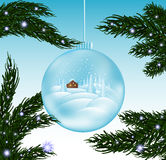 Merry Christmas beautiful vector greeting cad with glass snowball and snow-covered fir branches Royalty Free Stock Image