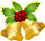 Merry Christmas bells. A gold Merry Christmas background Royalty Free Stock Photos